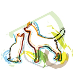 Abstract Cat and dog vector