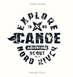Adventure on canoe badge vector image