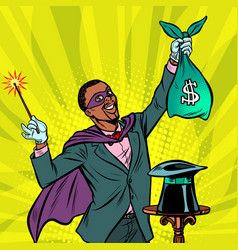 African magician with dollar money vector