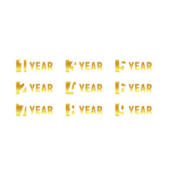 Anniversary of company gold negative space sign vector