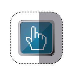 blue emblem hand cursor vector image