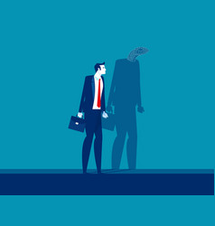 Businessman with shadow reflect yourself concept vector