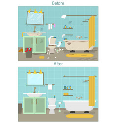 Cartoon dirty organized and clean bathroom for vector