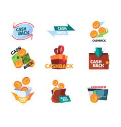 cash back logo promotional stylized logotypes vector image