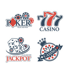Casino jackpot and poker club isolated promotional vector