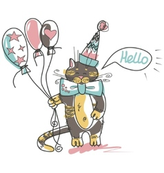 cat with balloon vector image