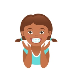 Children braces happy african american girl vector