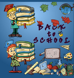 Childrens color 1 on school theme design of vector