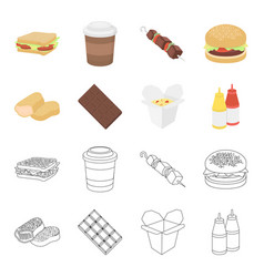 chocolate noodles nuggets saucefast food set vector image