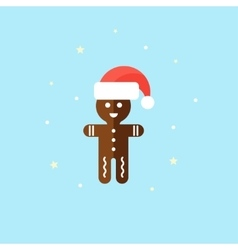Christmas chocolate cookie in red hat Holiday vector image vector image