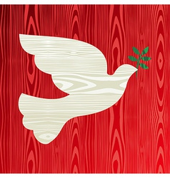 Christmas wooden dove of peace vector image