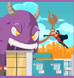 Cities superhero monster battle action vector