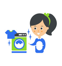 Cleanup service maid and washing machine laundry vector