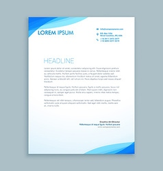 Corporate blue wave letterhead design vector