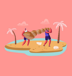 couple male tourist characters carry huge vector image