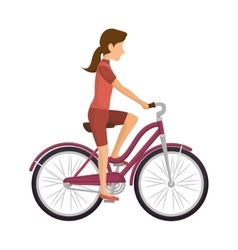 cyclist woman riding bicycle vector image