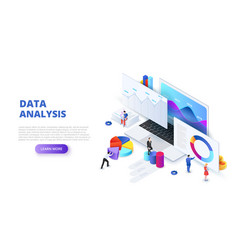 data analysis design concept with people and vector image