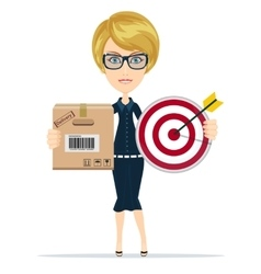 Delivery service woman with box and megaphone vector