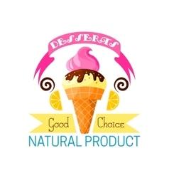Dessert icon of vanilla ice cream and lemon vector