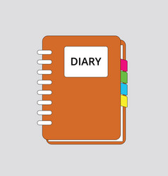 diary book icon simple flat orange color with vector image