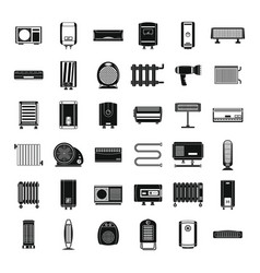 Electric heater device icons set simple style vector