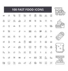 fast food editable line icons 100 set vector image