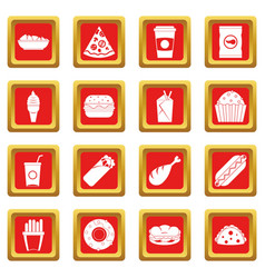 Fast food icons set red vector