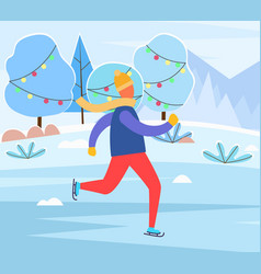 Figure skating man on ice rink in christmas eve vector