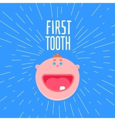 First boys tooth greetings vector image