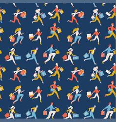 flat seamless pattern trendy running girls vector image