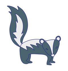 Full color cute and sad skunk wild animal vector