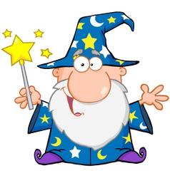 Funny Wizard Waving With Magic Wand vector image