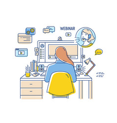 girl sitting at desk with computer and watching or vector image