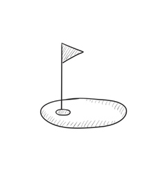 Golf hole with flag sketch icon vector