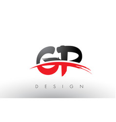 gp g p brush logo letters with red and black vector image