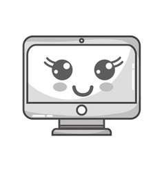 grayscale kawaii cute happy screen monitor vector image