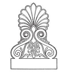 Greek akroter is an ornamental finish to apex vector