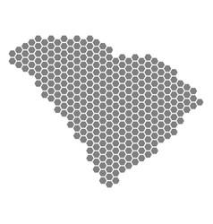 Grey hexagon south carolina state map vector