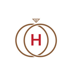 h letter ring diamond logo vector image