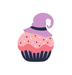halloween cute card with cupcake isolated on white vector image