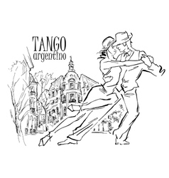 Hand made sketch of tango dancers vector