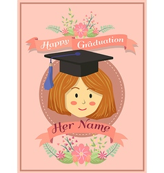 Happy Graduation Girl Pink Greeting Card vector