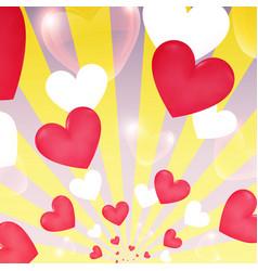 happy valentine day yellow sunburst hearts flying vector image