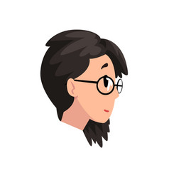 head of brunette girl with glasses profile of vector image