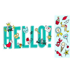 hello lettering with girly doodles vector image