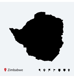 High detailed map of Zimbabwe with navigation pins vector image