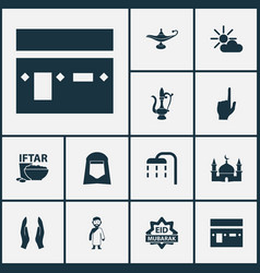 Holiday icons set collection of nachmittag body vector