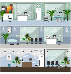 Horizontal banners with hospital interiors vector