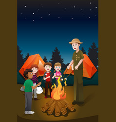 Kids in summer camp vector