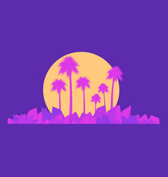 landscape with palm trees in the style of the 80s vector image